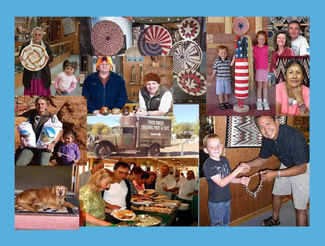 A collage of people, artists, family and art from Twin Rocks Trading Post.